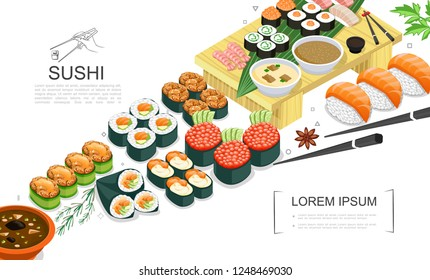 Isometric Sushi Food Collection