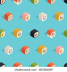 Isometric sushi seamless pattern on the blue background in flat style