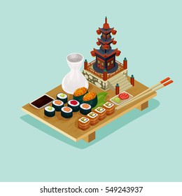 Isometric sushi set. 3D detailed colored illustration. Sushi vector composition.