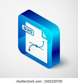 Isometric SVG file document. Download svg button icon isolated on white background. SVG file symbol. Blue square button. Vector Illustration