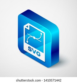 Isometric SVG file document icon. Download svg button icon isolated on white background. SVG file symbol. Blue square button. Vector Illustration