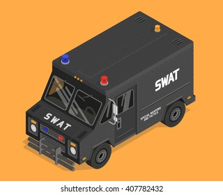 Isometric SWAT S.W.A.T. van vector isolated colorful flat illustration on orange background