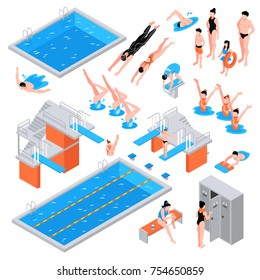 Isometric swimming pool set of isolated pool elements icons of equipment plungers and swimmers human characters vector illustration