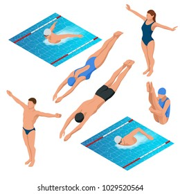 Isometric swimming pool, swimmers human characters vector illustration.