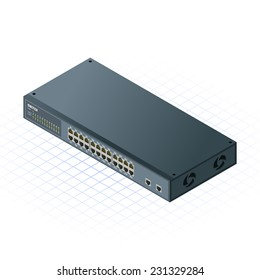 Isometric Switch with Up link Port Vector Illustration