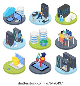 Isometric System Administrator. Server Room. Data Storage. Vector flat 3d illustration