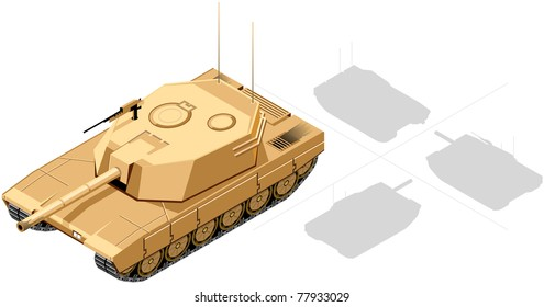 Isometric Tank  (1 of 4 views), Desert colors. The series of the isometric vehicles, houses, trees etc. In vector.