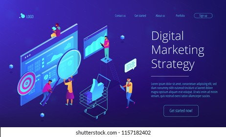 Isometric team of specialists working on digital marketing strategy landing page. Digital marketing, seo, digital analysis, profit concept. Blue violet background. Vector 3d isometric illustration.