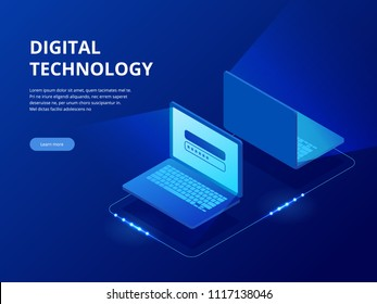 Isometric Tech devices connected, big data processing, energy station of future, server room rack, data center concept vector illustration. Global network and data exchanges.