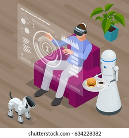 Isometric Techno Robots and Man sitting on sofa at home wearing Virtual Reality Headset. Technology, cyberspace and people concept