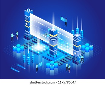 Isometric technology concept. Database Network Management. Big Data processing, energy station of future. IT Technician Turning Server. Cloud service. Digital information. Vector illustration
