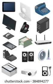 Isometric technology device set. vector illustration.