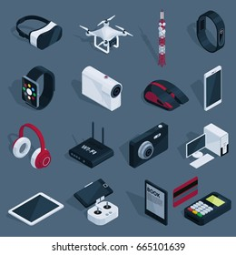 Isometric technology devices set with radio tower quadcopter drone and different electronic gadgets isolated vector illustration