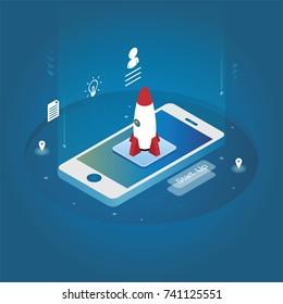 Isometric technology rocket mobile phone start up concept vector illustration