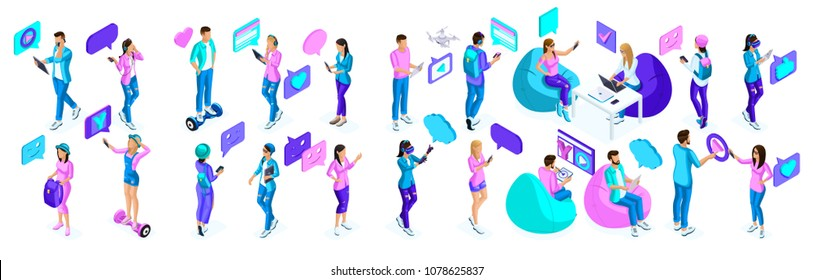 Isometric teenagers, use gadgets, phones, generation Z, bright colors concept. A large set of holographic people.