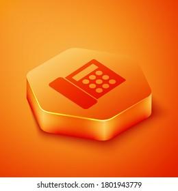 Isometric Telephone icon isolated on orange background. Landline phone. Orange hexagon button. Vector Illustration