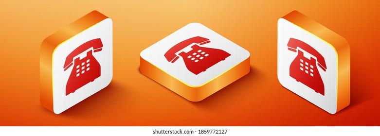 Isometric Telephone icon isolated on orange background. Landline phone. Orange square button. Vector.