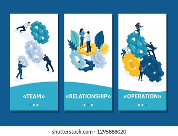 Isometric Template app Conceptual image of business team working cohesively. Interaction and unity, smartphone apps.