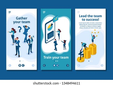 Isometric Template app The success of a good business team, concept banner, smartphone apps