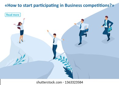 Isometric Template banner article Business concept, participate in Business competitions.