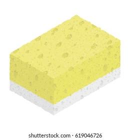 Isometric textured sponge isolated on white background. Vector illustration of kitchen tool for washing. Flat icon for web.