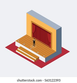 Isometric Theater stage ..man speaking behind microphone
