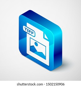 Isometric TIFF file document. Download tiff button icon isolated on white background. TIFF file symbol. Blue square button. Vector Illustration