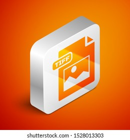 Isometric TIFF file document. Download tiff button icon isolated on orange background. TIFF file symbol. Silver square button. Vector Illustration