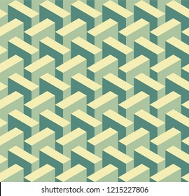 Isometric tiling pattern, optical illusion