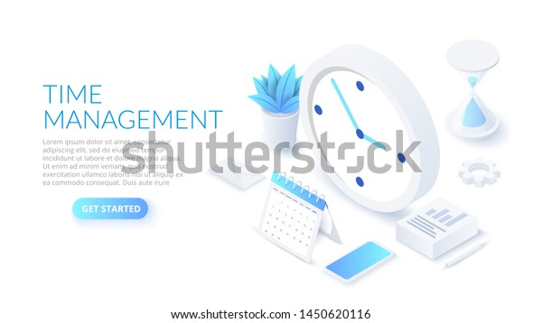 Isometric Time Management Banner Character Text Stock Vector Royalty Free 1450620116