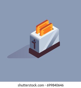 isometric toaster icon, vector illustration