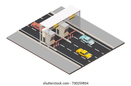 Isometric Toll Road Payment landscape checkpoint.