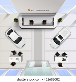 Isometric top view office interior of automobile salon with cars and tables for employees and clients realistic vector illustration