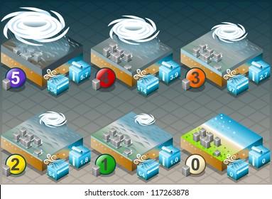 Isometric Tornado Hurricane Typhoon Infographics Natural Disaster. Icon.
