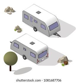 Isometric tourist trailer