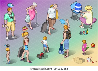 Isometric Tourists Peoples Set in Vacation Resort.