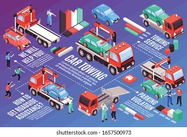 Isometric tow truck horizontal composition with editable text colourful graphs and images of vehicles with people vector illustration