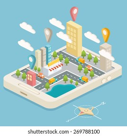 Isometric town map with GPS navigation