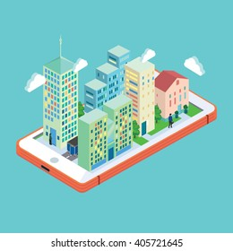 Isometric town on smart phone. Mobile concept. Vector graphics