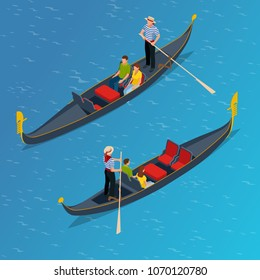 Isometric Traditional Gondola. Gondola with gondolier and tourists in Venice, Italy Travel. Italian man profession