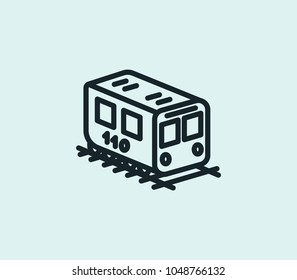 Isometric train icon line isolated on clean background. Isometric train icon concept drawing icon line in modern style. Vector illustration for your web site mobile logo app UI design.