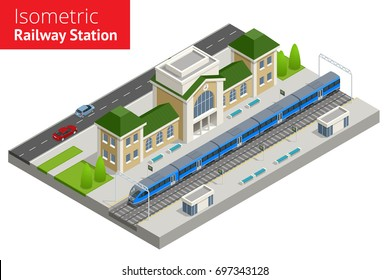isometric Train Station building with passenger trains, platform.  Vector isometric infographic element or icon Public transportation