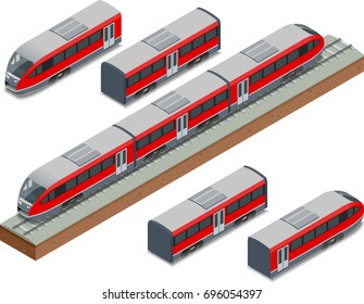 Isometric train tracks and modern high speed train Vector isometric illustration of a Fast-Train. Vehicles designed to carry large numbers of passengers.