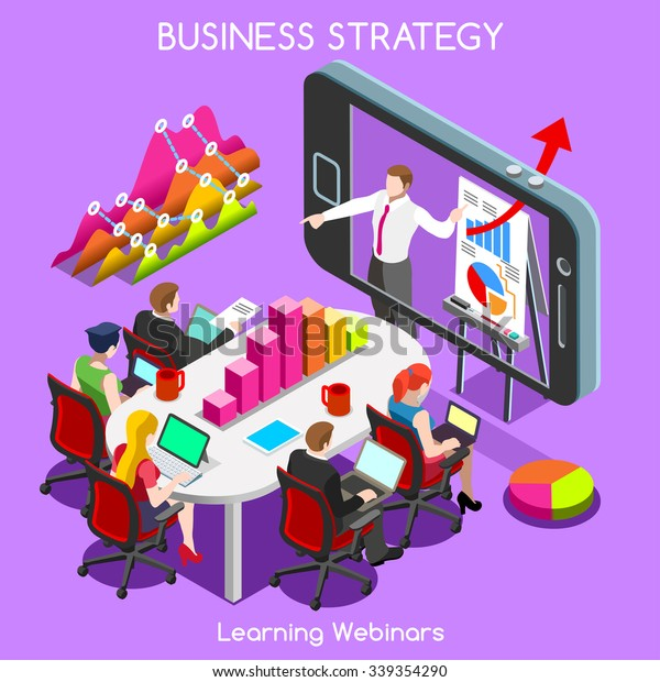 Isometric Training Remote Business Meeting Event Stock Vector