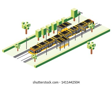 Isometric Tram Station Isolated on White. Vector Illustration. Railway Electric Train. City Scene with Road and Green Tree.