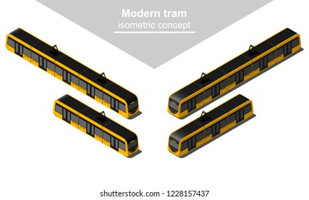 Isometric tramway in different views vector illustration.