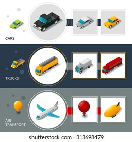 Isometric transport banners set with cars trucks and air transport isolated vector illustration