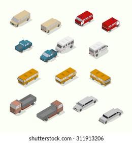 Isometric transport icon set.  Simple flat. Vector