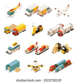 Isometric transportation elements set with cars helicopter trucks airplane scooter ships forklifts container drone train isolated vector illustration