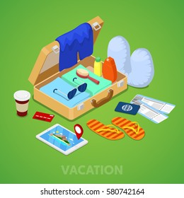 Isometric Travel Vacation Concept. Suitcase with Passport, Tickets and Summer Clothing. Vector 3d flat illustration